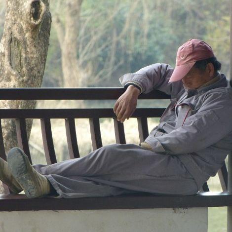 Arbeiter in Xixi Wetlands
