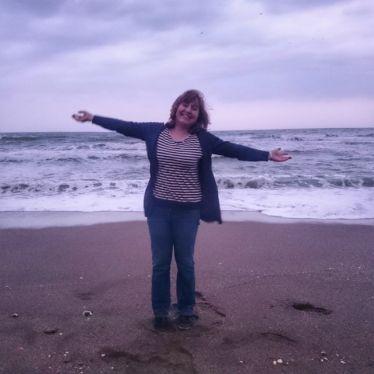 Anja Rützel am Strand
