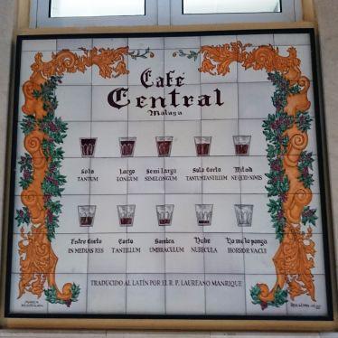 Schild, das anzeigt, wie viel Kaffee im Glas ist