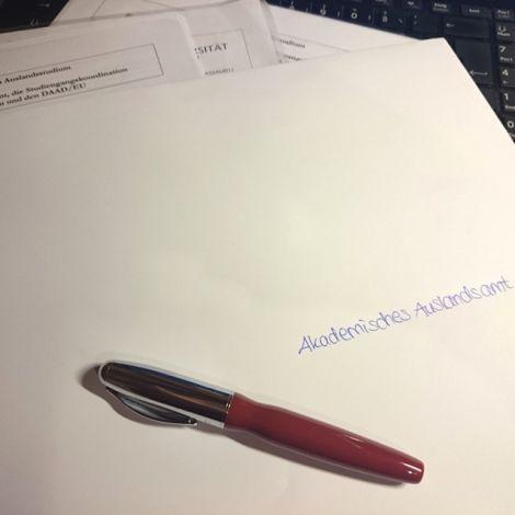 Umschlag an das Akademische Auslandsamt