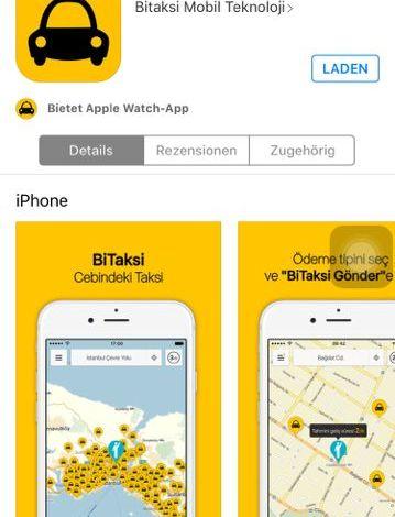Screenshot der BiTaksi-App