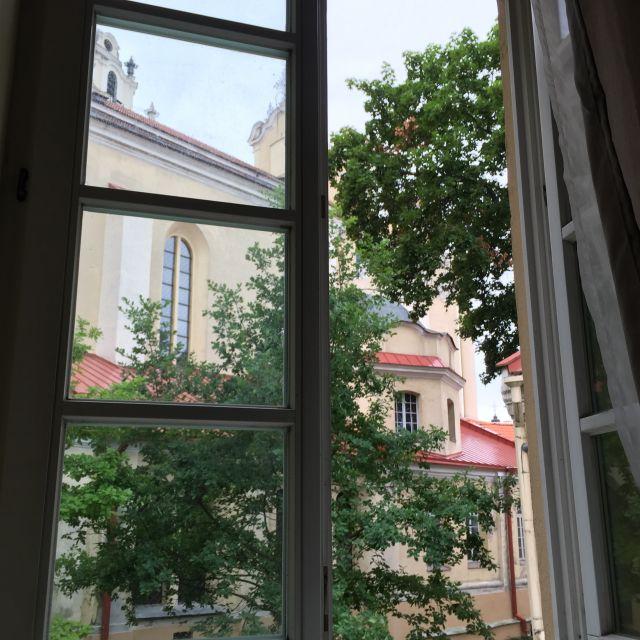 Blick aus dem Fenster auf Bäume und Haus
