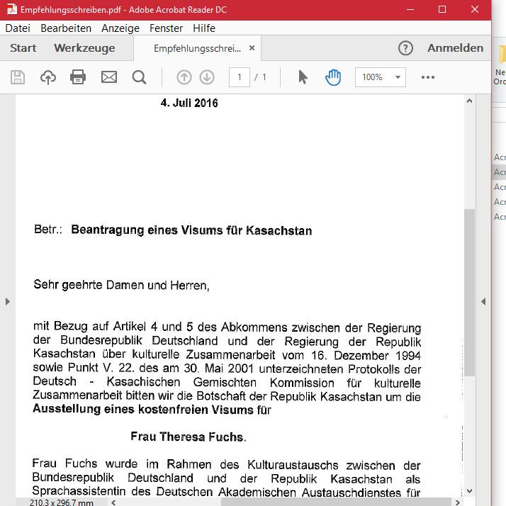Mein Weg zum kasachischen VisumSprachassistenz | studieren weltweit