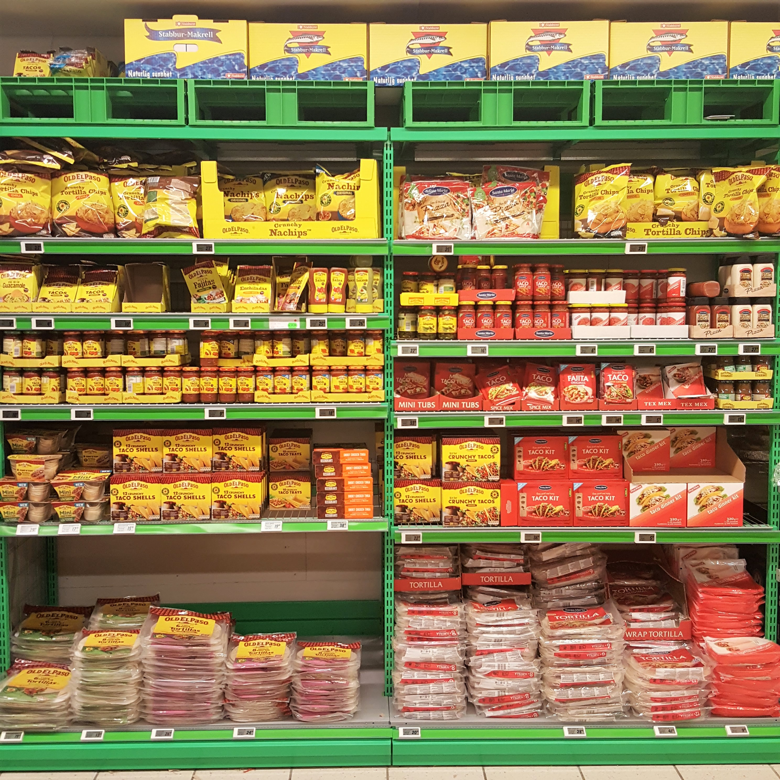 Supermarktregal in Norwegen