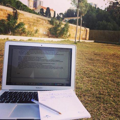 Mit Laptop auf der Wiese