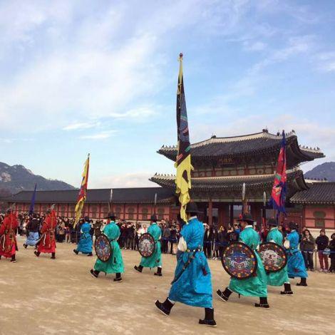 Bunt angezogene Palastwache in Südkorea