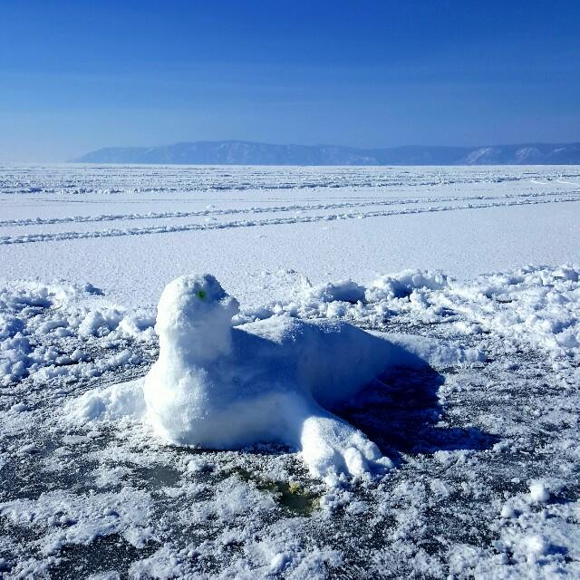 Robbe aus Schnee auf dem Baikalsee.