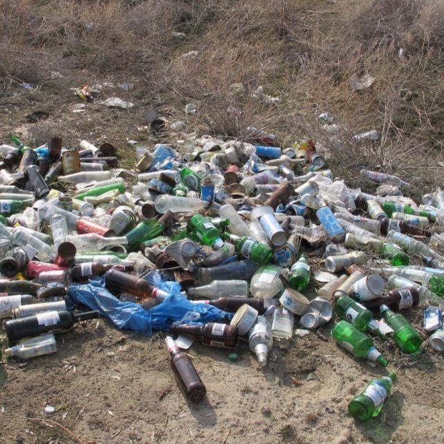Ein Haufen Flaschen und Müll auf dem Boden in der Natur.