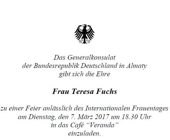 Einladung des Generalkonsulats anlässlich des Frauentags.