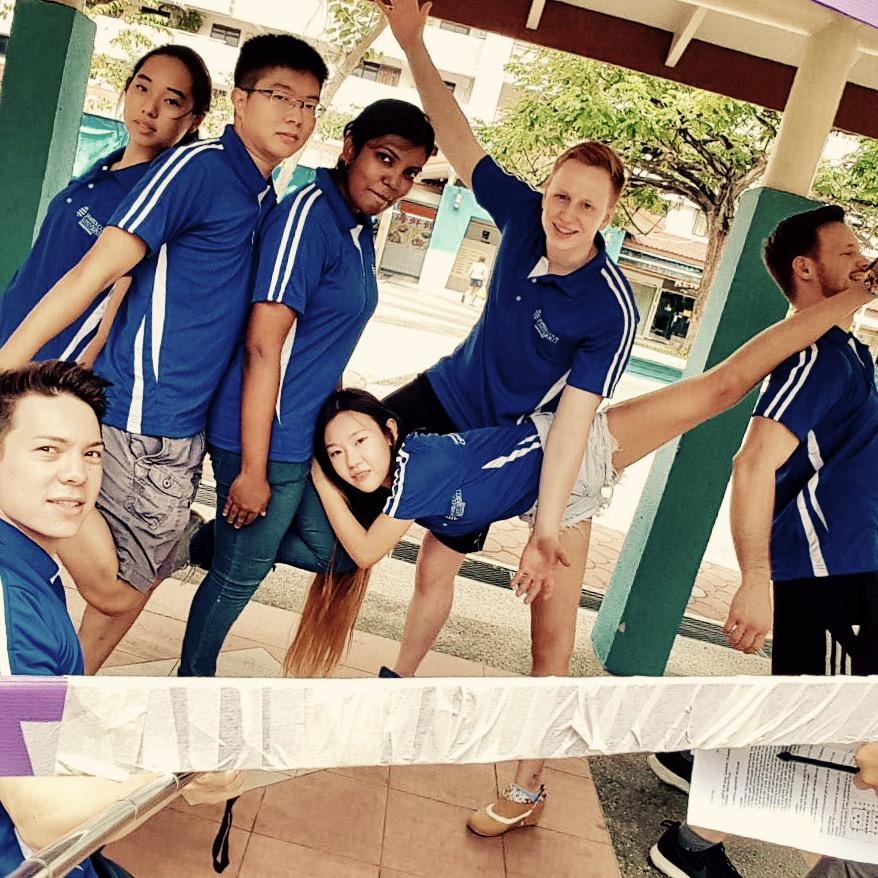 Studenten, Gruppenbild, Spagat