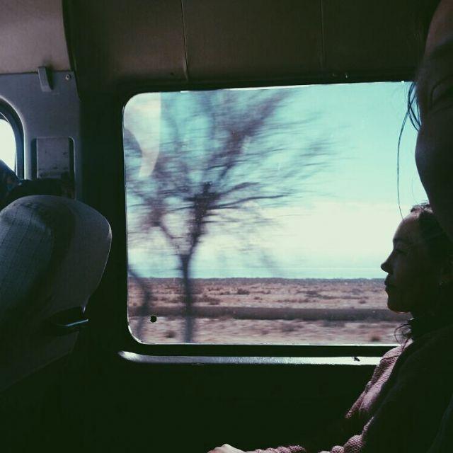 Marschrutka Fensterblick Issyk Kul Kirgistan