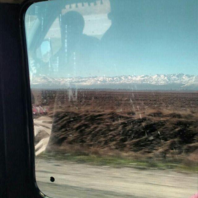 Marschrutka Reise Kirgistan Ausblick Berge
