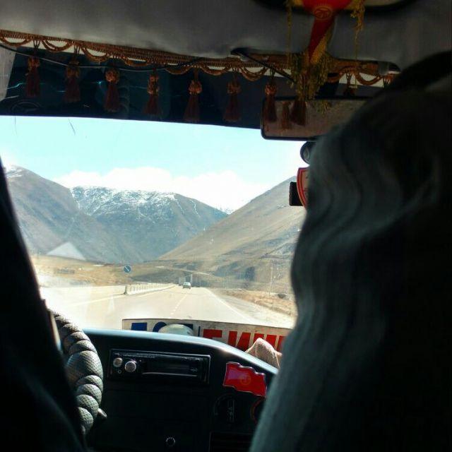 Marschrutka Reise Ausblick Berge Kirgistan