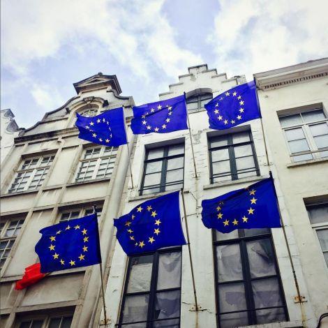 Sechs EU-Flaggen wehen im Wind in Brüssel.