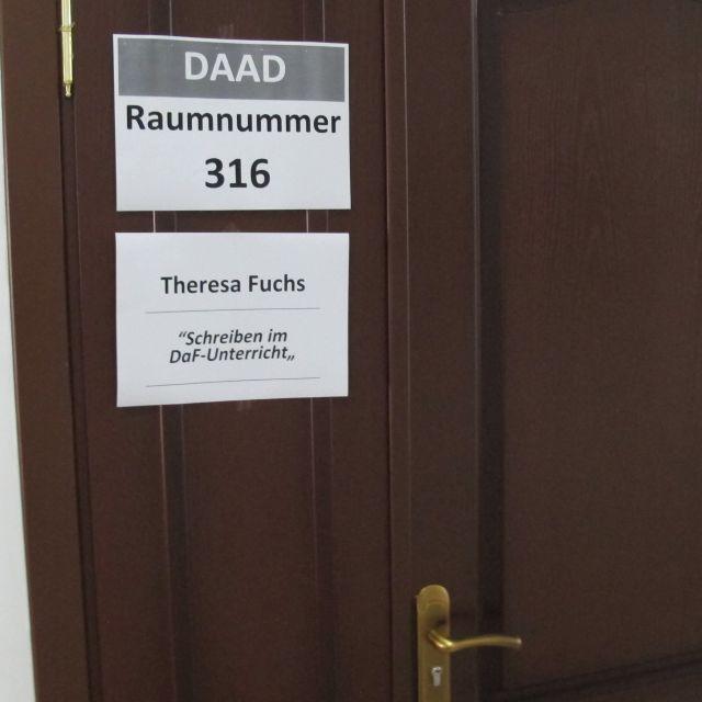 Tür mit Workshopinformation