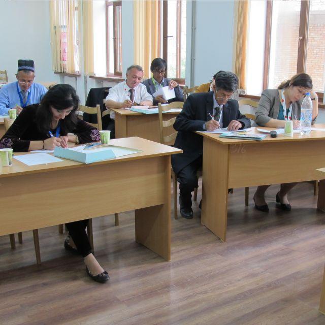 Konzentriert arbeitende Lehrerinnen und Lehrer an Schulbänken sitzend