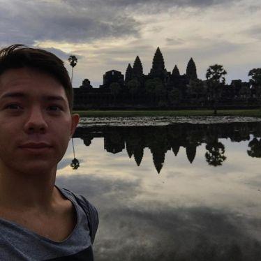 Angkor Wat, Sonnenaufgang, bewölkt, selfie