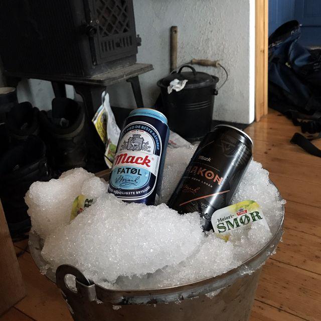 Eimer mit Eis und zwei Bierdosen, die auf dem Eis gekühlt werden