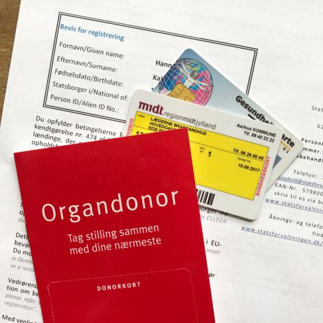 Organspendeausweis, Gesundheitskarte, CPR Nummer, Versicherungskarte