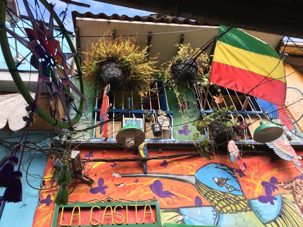 Blumentoepfe, eine Fahne und Deko an einem bemalten Haus