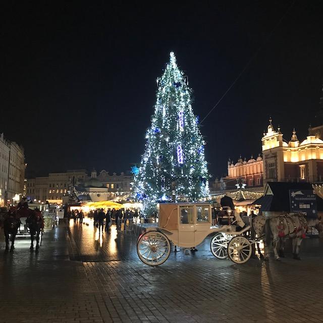 Weihnachtsmarkt Krakau Nacht