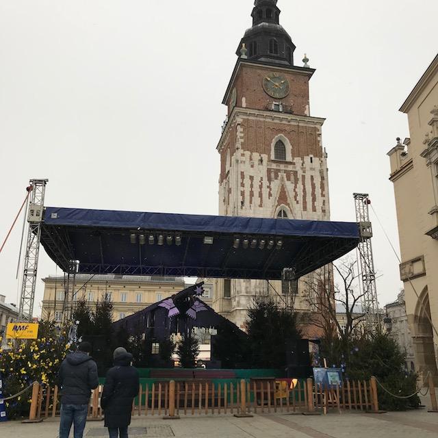 Weihnachtsmarkt Krakau Bühne