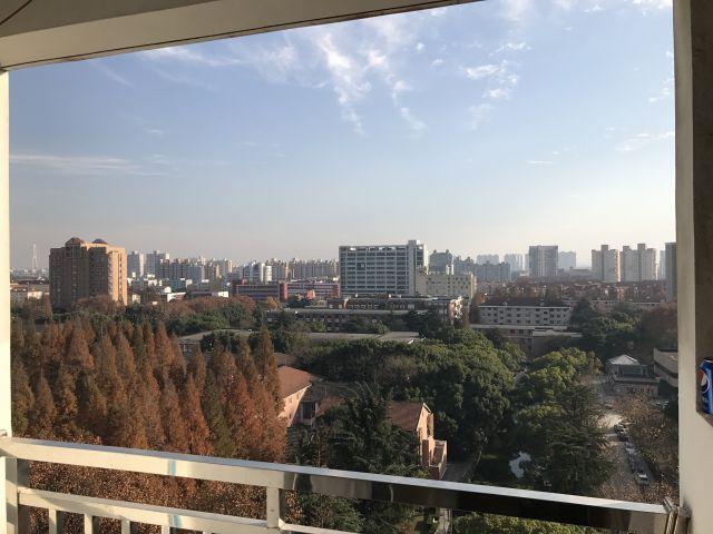 Ausblick vom Balkon über den Campus