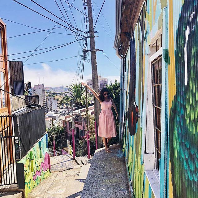 Ich stehe vor bunten Häusern, im Hintergrund sieht man eine Palme und die bunten Häuser der Stadt Valparaíso