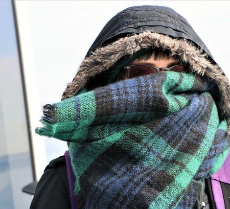 Frau blickt in Kamera und trägt Kapuze mit Kunstfellbesatz, dicken Schal, Mütze und Sonnenbrille.