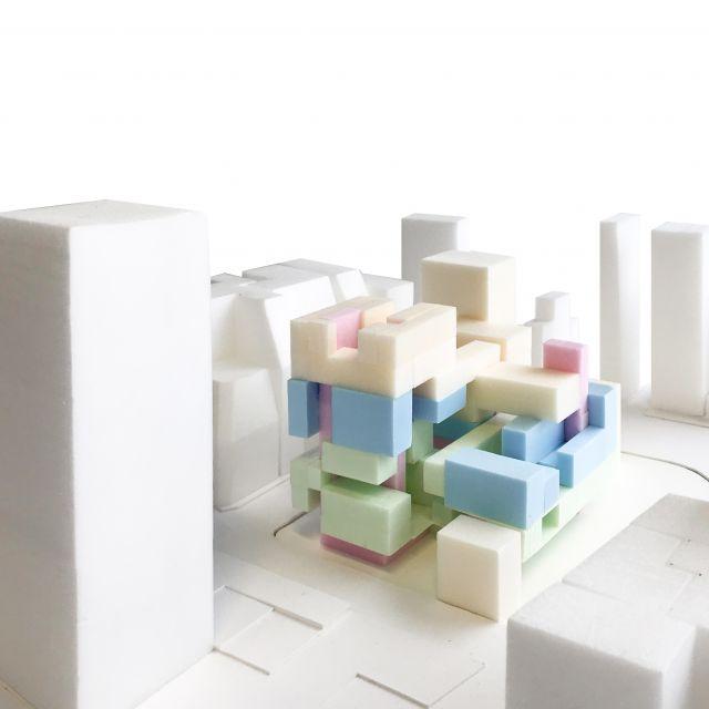 Architekturmodell für die innere Raumstruktur