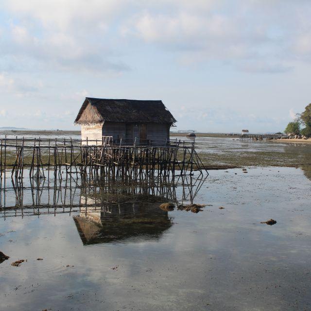 Das Bild zeigt eine Holzhütte auf Pfählen bei niedrigem Wasserstand.