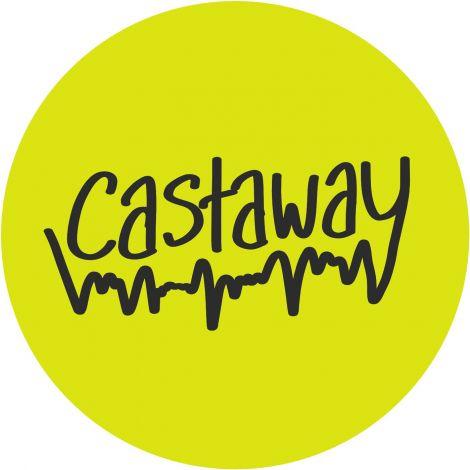 Gelber Kreis mit dem Wort Castaway und unterlegt von Stimmwellen
