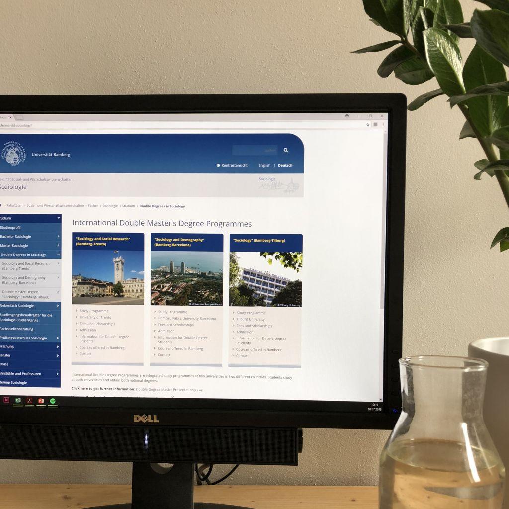 Foto von der Homepage der Uni Bamberg mit den Doppelmasterprogrammen