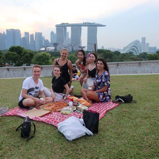 6 Personen auf einer Picknick-Matte vor der Skyline Singapurs