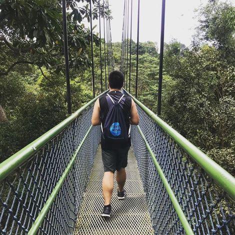 """Student Don läuft über eine Brücke im Dschungel. Er trägt einen Turnbeutel mit """"studieren weltweit""""-Aufdruck."""