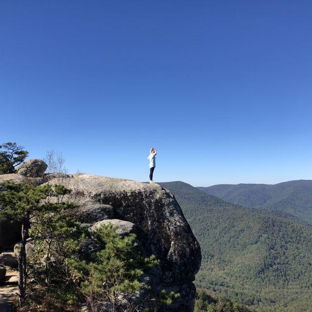 Leonie auf einem Felsvorsprung mit Blick auf einen Nationalpark in den USA.