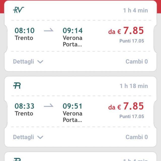 Screenshot App Trenitalia mit Zugverbindungen Trento- Verona