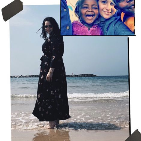 Bild am Stand von Tel Aviv und Bild mit Kinder aus einem Township in Südafrika