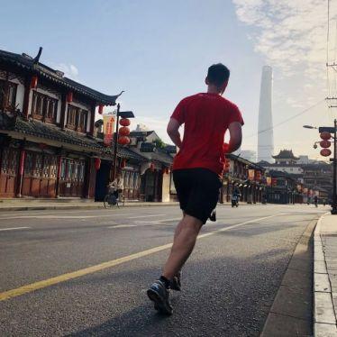 Joggen mit Shanghai Tower