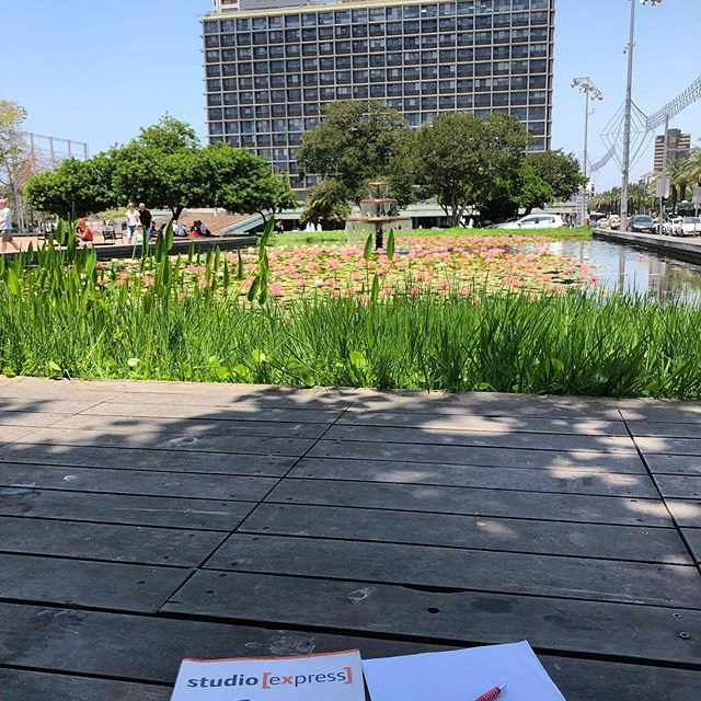 Hier bereite ich meinen Kurs am Kikar Rabin (Rabinplatz), der ca. eine Gehminute von meinem Zuhause entfernt ist, vor.