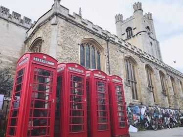Red telephone boxes in Cambridge.…