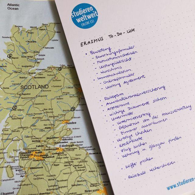 To-Do-Liste: Erasmus in Schottland
