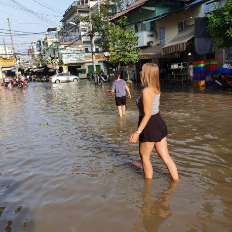 Überschwemmung in Can Tho, im Mekongdelta