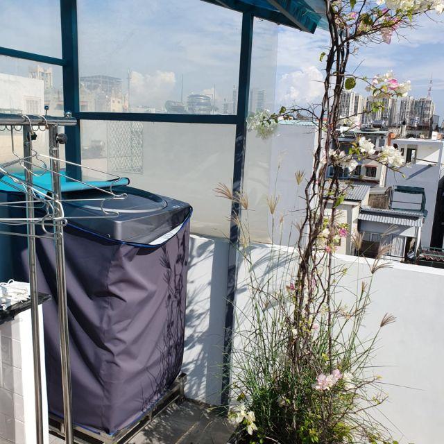 Die Waschmaschine auf der Dachterrasse