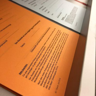 Kleingedrucktes vom Antrag auf Rücktritt von einer angemeldeten Prüfung