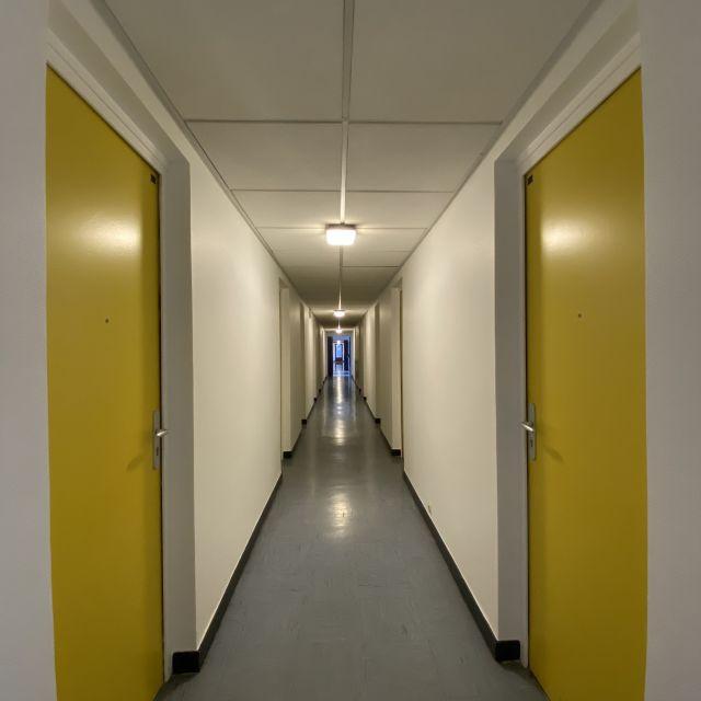 Man sieht einen Flur mit gelben Türen.