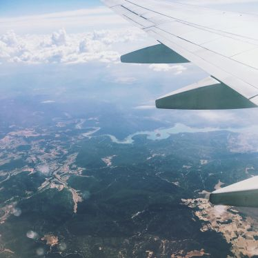 Spanische Landschaft aus dem Flugzeug fotografiert