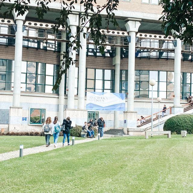 grüner Rasen vor Unigebäude.