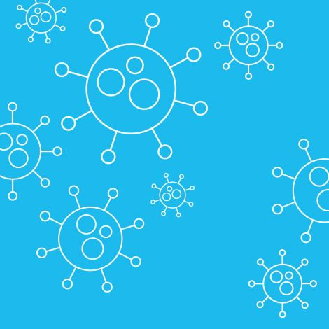 Blauer Hintergrund, davor gezeichnete Viren.