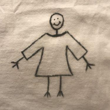 Zeichnung von einem Strichmännchen mit viel zu großem Oberteil